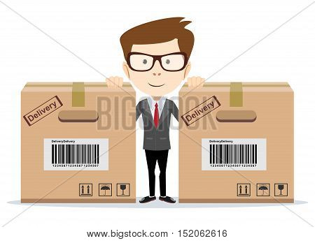 Delivery man with a box. Stock vector illustration