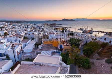 View of the old town of Naxos and Paros island in the distance.