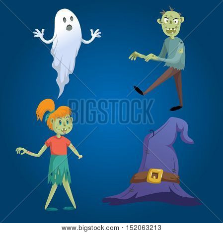 Cartoon style halloween symbols set. Funny ghost walking zombie zombie girl without hand and witch hat with belt.