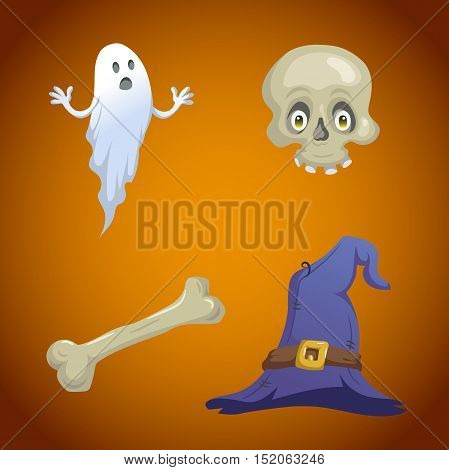 Cartoon style halloween symbols set. Funny ghost skull with eyes bone and witch hat with belt. Halloween party design elements.