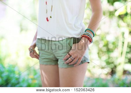 Woman with beautiful accessories, outdoors