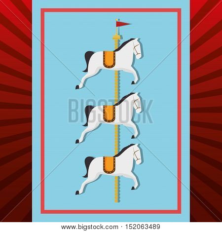 carousel horses circus festival atraction over blue and red background. vector illustration