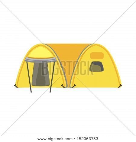 Yellow Large Family Bright Color Tarpaulin Tent. Simple Childish Vector Illustration Isolated On White Background