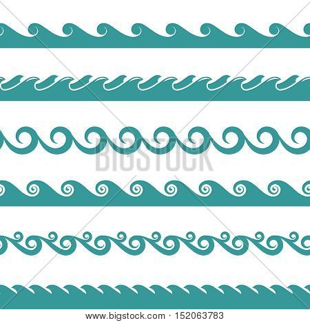 Blue ocean wave vector symbols isolated on white background. Sea water or flow river illustration