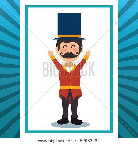 avatar happy man announcer circus festival over white and blue background. colorful design. vector illustration