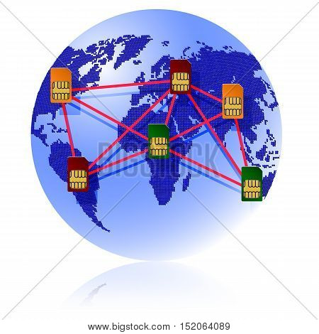 Globe Sim card connecting continents vector illustration.