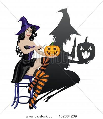 Beautiful sexy witch carving Halloween pumpkin and scary shadow of old ugly witch