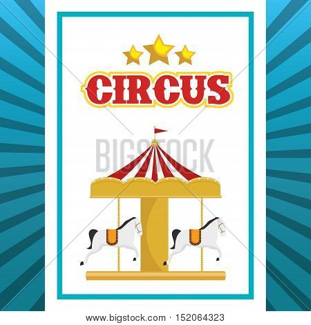 carousel horses circus atraction over white and blue background. colorful design. vector illustration
