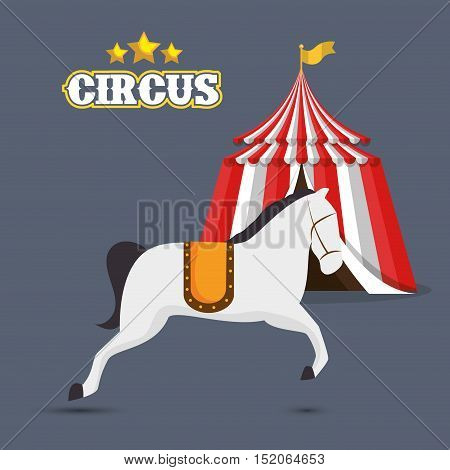horse and red and white striped tent circus icon over gray background. colorful design. vector illustration