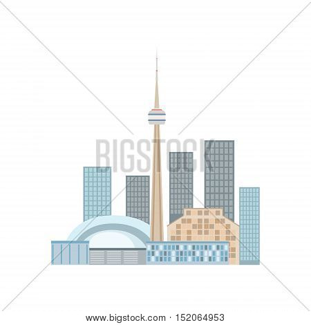 Toronto Skyline View As A National Canadian Culture Symbol. Isolated Illustration Representing Canada Famous Signature On White Background