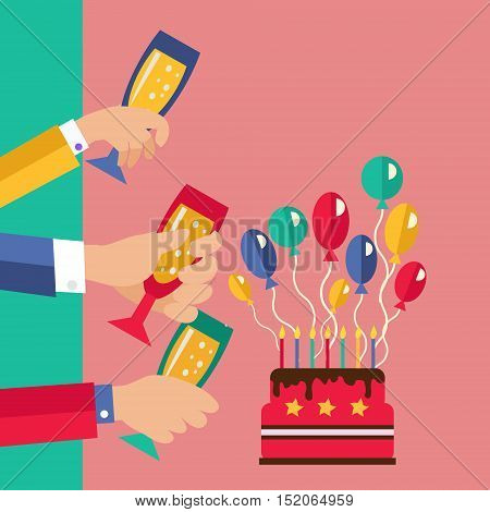 Celebration and Party invitation card. Birthday party Announcement poster in a flat style. Party celebration illustration in flat design.
