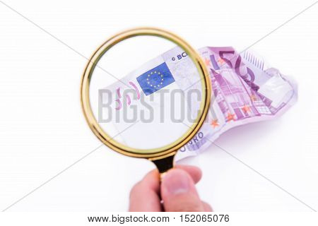 Magnifying Glass With Five Hundred Euros