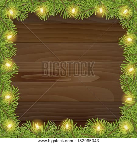 Christmas tree frame with christmas light bulb isolated on wood plank background. vector illustration for print or banner.