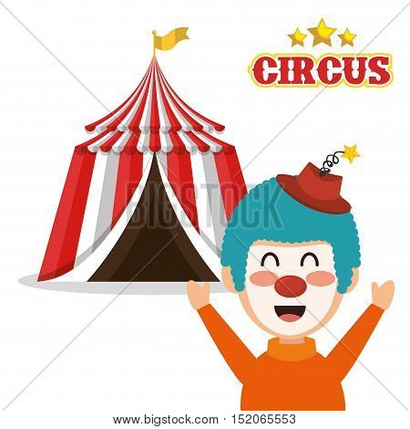 red and white striped tent circus  and happu clown icon. colorful design. vector illustration