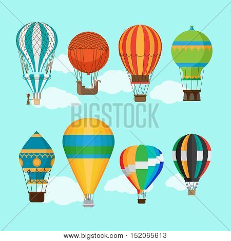 Aerostat balloon transport. Vintage hot air balloons vector illustration
