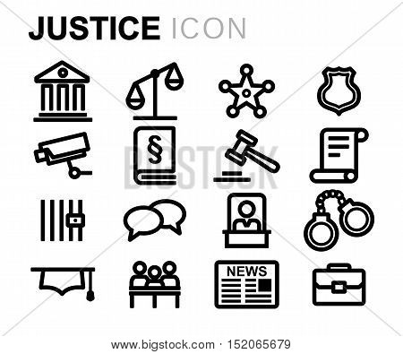 Vector black line justice icons set on white background