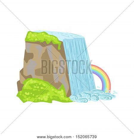 Niagara Falls As A National Canadian Culture Symbol. Isolated Illustration Representing Canada Famous Signature On White Background
