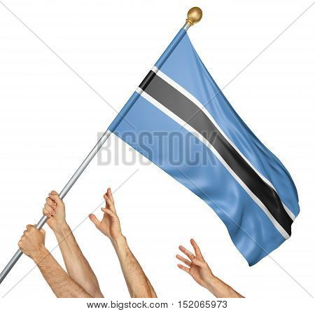 Team of peoples hands raising the Botswana national flag, 3D rendering isolated on white background