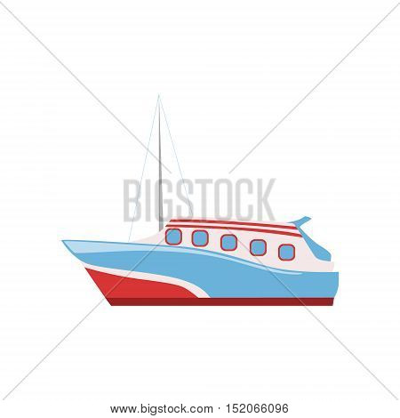 Speed Boat As A National Canadian Culture Symbol. Isolated Illustration Representing Canada Famous Signature On White Background