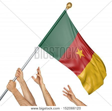 Team of peoples hands raising the Cameroon national flag, 3D rendering isolated on white background