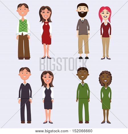 et of diverse business people isolated on white background. Different dress styles. Cute and simple flat cartoon style