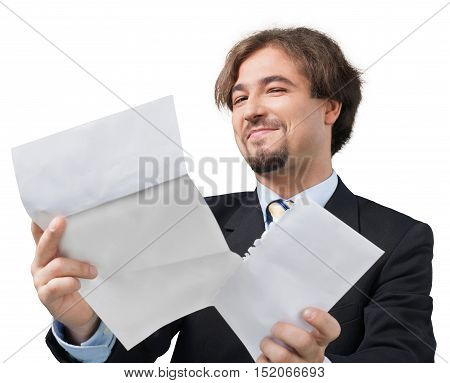 Portrait of a Satisfied Businessman Looking at Some Documents