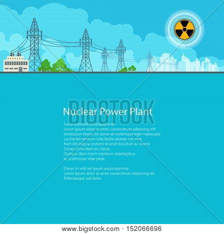 High Voltage Power Lines Supplies Electricity to the City, Electric Power Transmission, Poster Brochure Flyer Design, Text on Blue Background, Radiation Sign, Vector Illustration