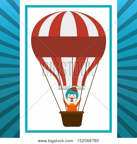 air balloon with clown smiling cartoon circus character over white and blue background. colorful design. vector illustration