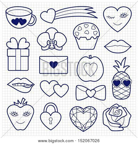 Romantic Patch Set with hearts, flowers and love objects. Fashion patches. Pin badges set. Stickers collection. Sketch of appliques for denim or clothes.