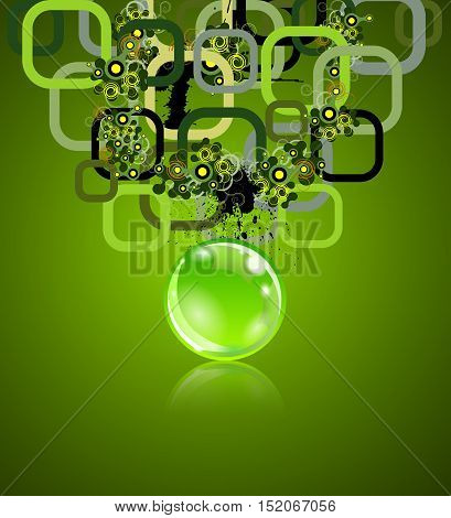 Concept with rectangles and sphere. Grunge elements on back. Vector illustration