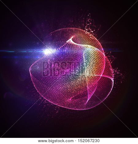 Party neon sign. 3D illuminated abstract shape of rainbow glowing particles, wireframe, splashes and lens flare optical light effect. Disco party. Vector illustration. Gay friendly event concept
