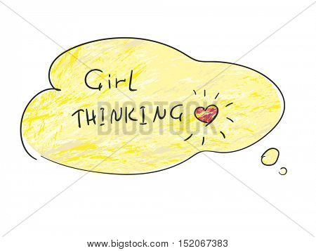 Hand drawn thought bubble with grunge background and text Girl Thinking