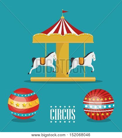 carousel horses circus atraction over blue background. colorful design. vector illustration