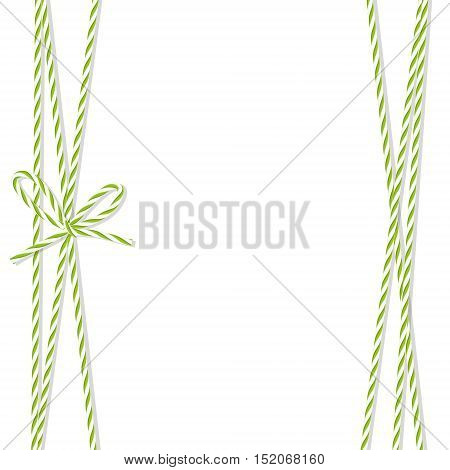 Abstract white background tied up with green rope bakers twine bow and ribbons