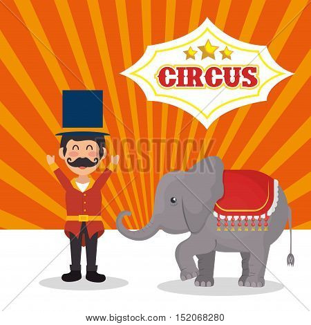 circus elephant and happy man festival show over white and orange background. colorful design. vector illustration