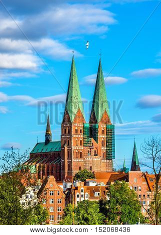View of St. Mary's Church in Lubeck - UNESCO heritage site in Germany