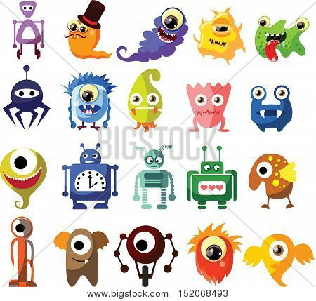 Vector set of drawings of different characters isolated monsters, germs, bacteria