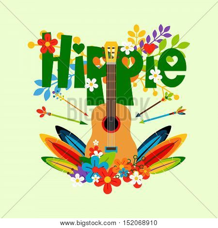 Hippie vector illustration with flowers, feathers and guitar
