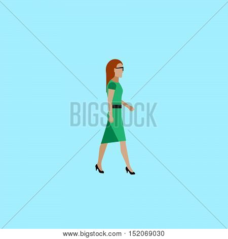 businesswoman. vector flat illustration of businesswoman or politician wearingred dress. walking woman