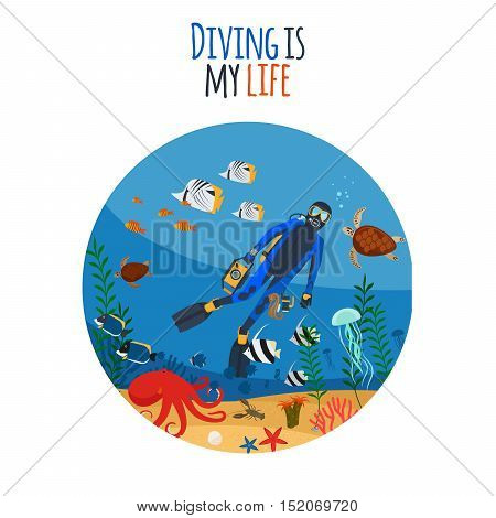 Diving is my life illustration. Diver underwater circle isolated icon. Vector illustration