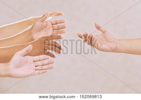 Hands of people begging for help, isolated on beige