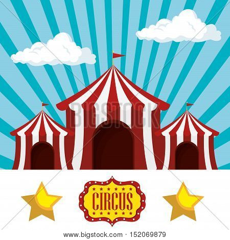 red and white striped tent circus  icon over blue background. colorful design. vector illustration