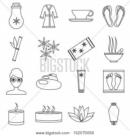 Spa icons set. Outline illustration of 16 spa vector icons for web