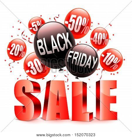 Black friday sale announcement with red and black balloons