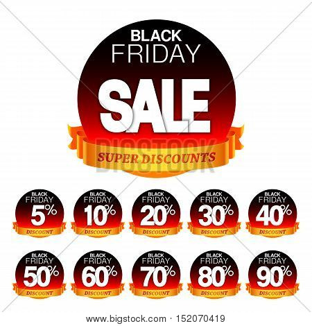 Black friday sale stickers or labels with different discount values