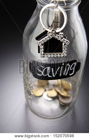 glass saving jar with house shape key chain