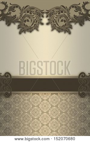 Vintage background with decorative borders and old-fashioned patterns.