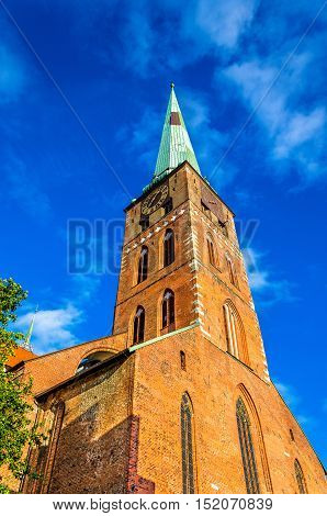 View of Jakobikirche, St. Jakobi Church in Lubeck - Germany