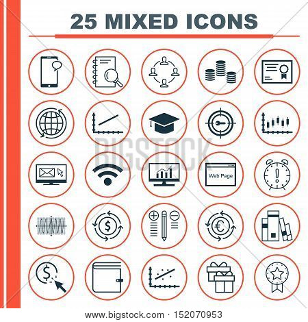 Set Of 25 Universal Editable Icons For Seo, Marketing And Computer Hardware Topics. Includes Icons S