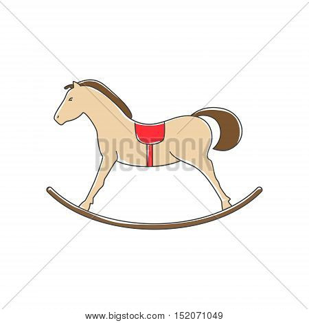 Colorful Rocking Horse Isolated on White Background, Merry Christmas and Happy New Year, Christmas Decorations, Vector Illustration